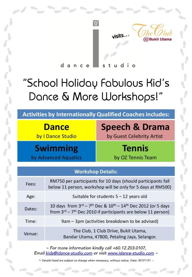 school holiday fabulous kid's dance & more workshops
